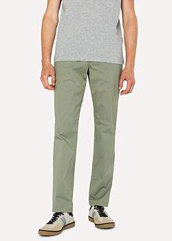 Paul Smith Men's Tapered-Fit Light Green Stretch-Cotton Chinos