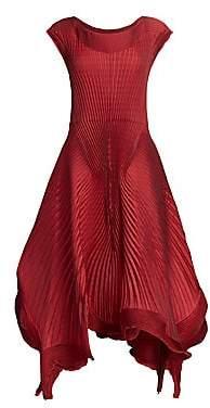 Issey Miyake Women's Pleated Petal Georgette A-Line Dress