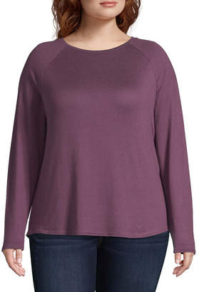 Arizona Womens Crew Neck Long Sleeve T-Shirt Juniors Plus