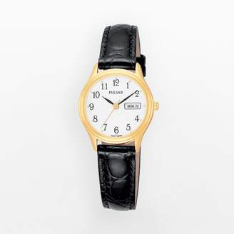 Pulsar Stainless Steel Gold Tone Leather Watch - Women