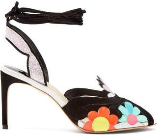 Sophia Webster Frida Floral Embellished Suede Sandals - Womens - Black Multi