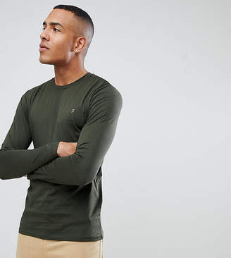 Farah Farris slim fit long sleeve t-shirt with stretch in green Exclusive at ASOS