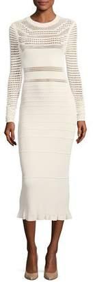 Narciso Rodriguez Round-Neck Long-Sleeve Open-Weave Knit Midi Dress