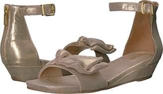 Kenneth Cole Reaction Women's Start Low Wedge Sandal Bow Detail Metallic