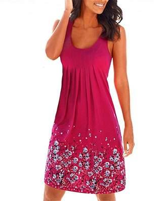 YJWAN Women Summer Casual Loose Mini Dress Sleeveless Printed Sundress Beach Dresses