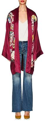 Alice Archer Women's Embroidered Silk Satin Robe