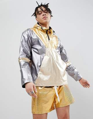 Asos DESIGN windbreaker in metallic color block