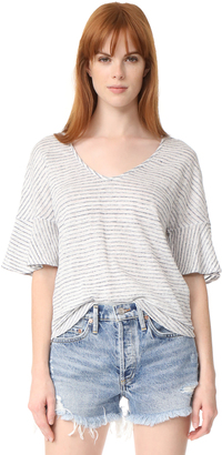 Splendid Linen Mini Stripe Tee $88 thestylecure.com