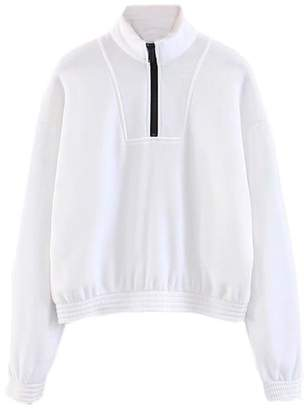 Goodnight Macaroon 'Renee' Sporty High Neck Half-Zip Pullover
