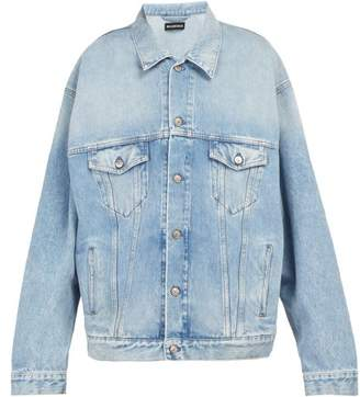 Balenciaga Lgbtq Embroidered Oversized Denim Jacket - Mens - Blue
