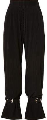 Sid Neigum - Buckle-embellished Corduroy Straight-leg Pants - Black