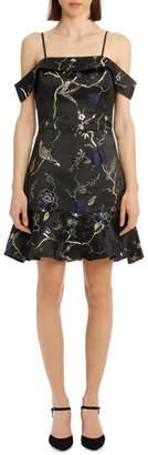 Lipsy Oriental Jacquard off Shoulder Fit Flare Dress