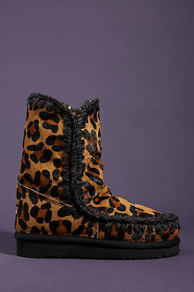 Mou Leopard-Printed Shearling-Lined Boots