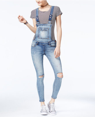 Dollhouse Juniors' Skinny Denim Overalls $49 thestylecure.com