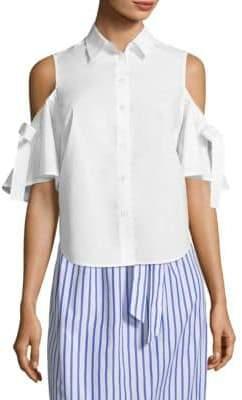 Draper James Cold-Shoulder Cotton Button-Down Shirt