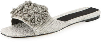 Flat Metallic Woven Slide Sandal with Floral Embroidery