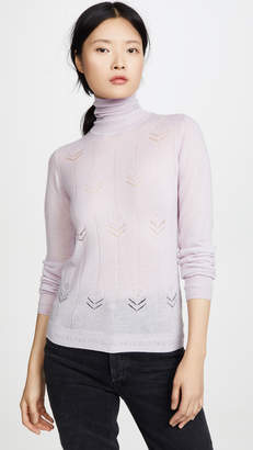 ADAM by Adam Lippes Cashmere Turtleneck with Flowers