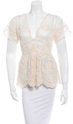 Paul Smith Lace Short Sleeve Top $65 thestylecure.com