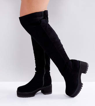 Asos DESIGN KITSCH Wide Fit Chunky Over The Knee Boots