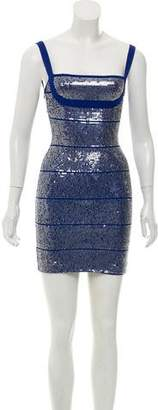 Herve Leger Katherine Sequin-Embellished Bandage Dress