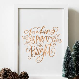 PRINTS279 Making Spirits Bright Christmas Typography Foil Print