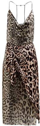 Paco Rabanne Leopard Chain Mail And Satin Dress - Womens - Leopard