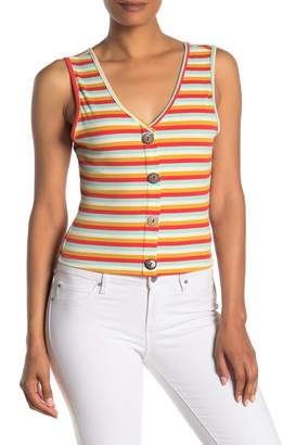 NSR Priscilla Button Ribbed Knit Crop Tank Top