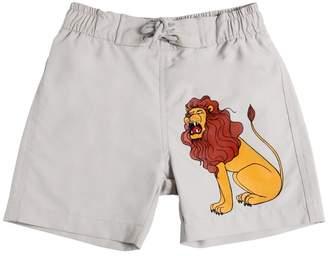 Mini Rodini Lion Print Peached Nylon Swim Shorts