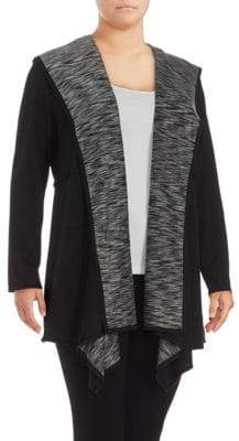 Max Studio Plus Space-Dye Hooded Cardigan Asymmetric