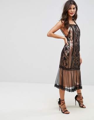 Asos DESIGN Lace Paneled Midi Dress