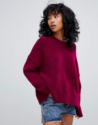 Pull&Bear soft oversized sweater in burgundy