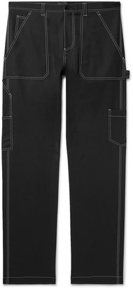 Versace Contrast-Stitched Wool-Blend Trousers - Men - Black