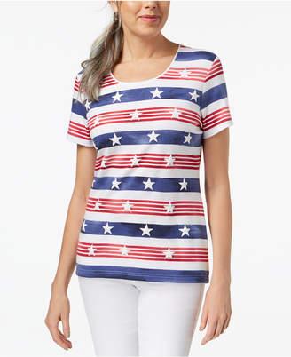 Karen Scott Americana Cotton Printed T-Shirt, Created for Macy's