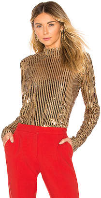 Tanya Taylor Gold Sequins Grace Top