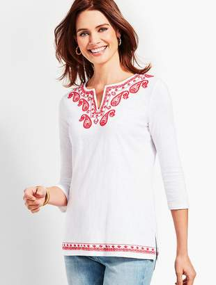Talbots Embroidered Split-Neck Tunic