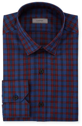 Lanvin Men's Fitted Check Dress Shirt
