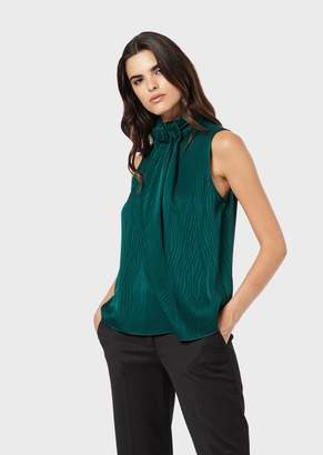 Emporio Armani Top In Jacquard Satin With Zebra Motif And Draping