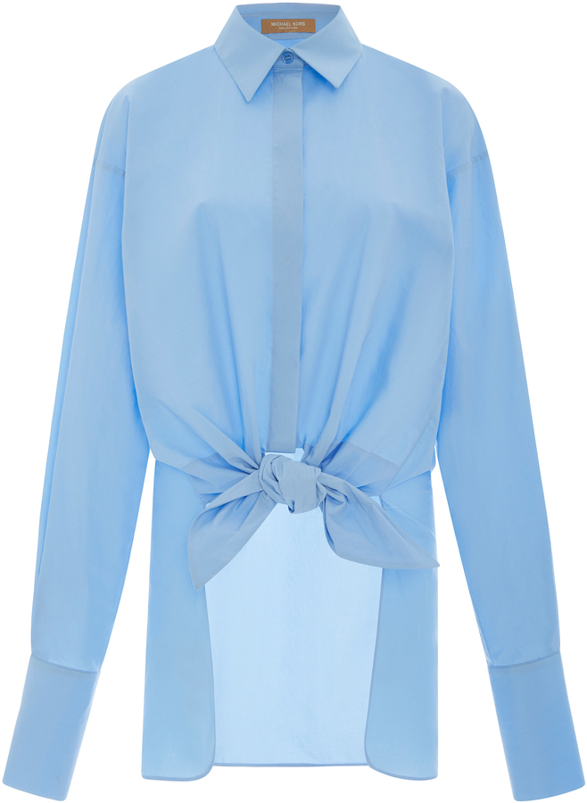 Michael Kors Collection Tie Waist Cotton Shirt