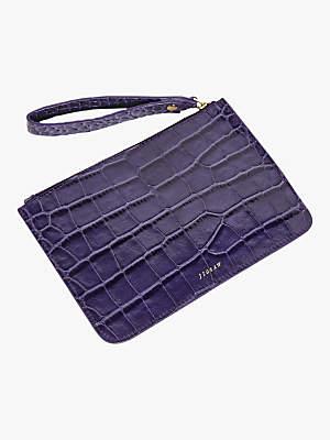 Jigsaw Croc Leather Clutch Bag
