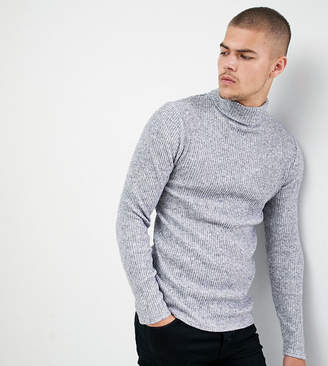 SikSilk knitted roll neck sweater in gray exclusive to ASOS