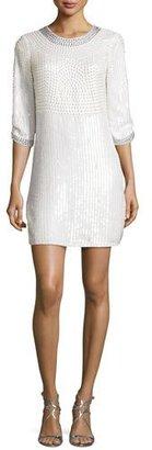 Parker Petra 3/4-Sleeve Embellished Mini Cocktail Dress, Ivory $498 thestylecure.com