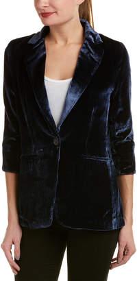 Ecru Silk-Blend Velvet Blazer