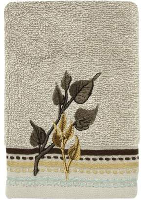 "Bacova Guild Birch Reflections Embroidered Leaves Dark Beige 11"" x 18"" Fingertip Towel"