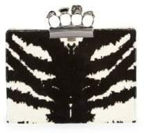 Alexander McQueen Four-Ring Zebra Print Clutch