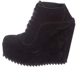 Pedro Garcia Suede Wedge Ankle Boots Black Suede Wedge Ankle Boots