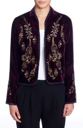 Women's Catherine Catherine Malandrino Winstead Embellished Velvet Jacket