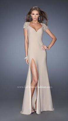 La Femme - Elegant Lace Cap Sleeve Evening Dress 20011 $238 thestylecure.com