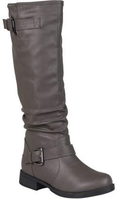 Co Brinley Womens Wide Calf Slouchy Buckle Detail Boots