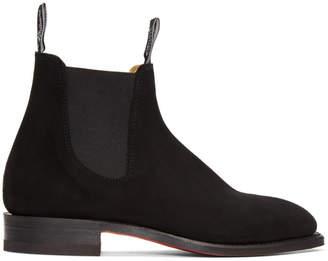 R.M. Williams Black Suede Craftsman Chelsea Boots