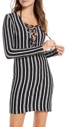 Luli Fama Stripe Long Sleeve Lace-Up Cover-Up Dress